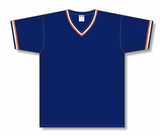 Athletic Knit (AK) BA1333 Navy/Orange/White Pullover Baseball Jersey