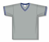 Athletic Knit (AK) BA1333A-548 Adult Grey/Navy/White Pullover Baseball Jersey