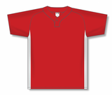 Athletic Knit (AK) BA1343-208 Red/White One-Button Baseball Jersey
