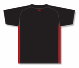 Athletic Knit (AK) BA1343 Black/Red One-Button Baseball Jersey