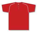 Athletic Knit (AK) BA1344 Red/White Two-Button Baseball Jersey