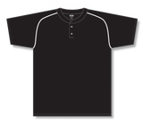 Athletic Knit (AK) BA1344A-221 Adult Black/White Two-Button Baseball Jersey