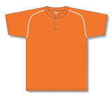 Athletic Knit (AK) BA1344-238 Orange/White Two-Button Baseball Jersey