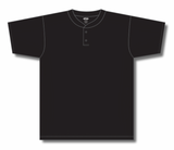 Athletic Knit (AK) BA1347 Black Two-Button Baseball Jersey