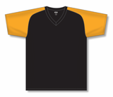 Athletic Knit (AK) BA1375M-212 Mens Black/Gold Pullover Baseball Jersey