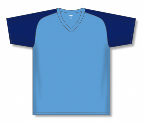 Athletic Knit (AK) BA1375 Sky Blue/Navy Pullover Baseball Jersey