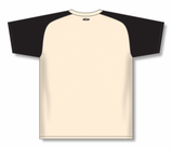 Athletic Knit (AK) BA1375-240 Sand/Black Pullover Baseball Jersey