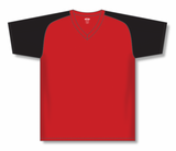 Athletic Knit (AK) BA1375-264 Red/Black Pullover Baseball Jersey