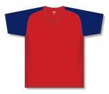 Athletic Knit (AK) BA1375 Red/Navy Pullover Baseball Jersey