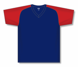 Athletic Knit (AK) BA1375-285 Navy/Red Pullover Baseball Jersey
