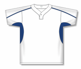 Athletic Knit (AK) BA1745A-207 Adult White/Royal Blue One-Button Baseball Jersey