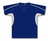 Athletic Knit (AK) BA1745-216 Navy/White One-Button Baseball Jersey