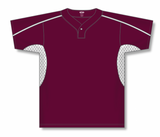 Athletic Knit (AK) BA1745-233 Maroon/White One-Button Baseball Jersey