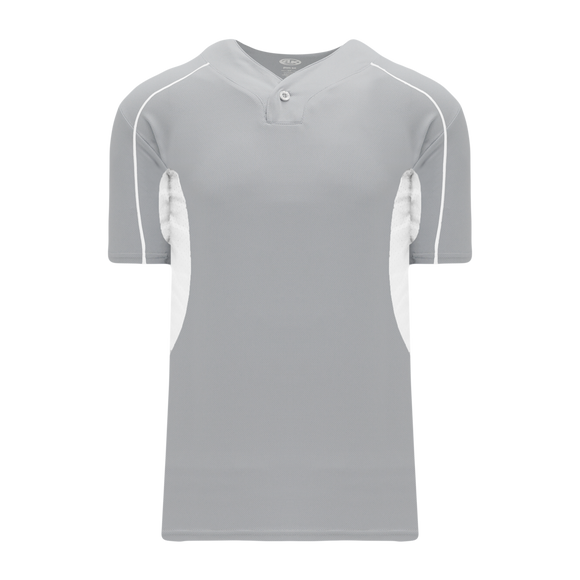 Athletic Knit (AK) BA1745A-245 Adult Grey/White One-Button Baseball Jersey