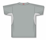 Athletic Knit (AK) BA1745-245 Grey/White One-Button Baseball Jersey