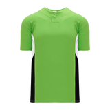 Athletic Knit (AK) BA1763 Lime Green/White/Black One-Button Baseball Jersey