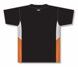 Athletic Knit (AK) BA1763 Black/White/Orange One-Button Baseball Jersey