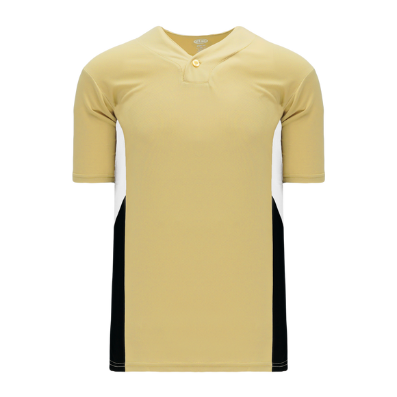 Athletic Knit (AK) BA1763 Vegas Gold/White/Black One-Button Baseball Jersey