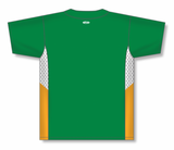 Athletic Knit (AK) BA1763A-334 Adult Kelly Green/White/Gold One-Button Baseball Jersey