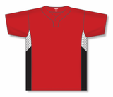 Athletic Knit (AK) BA1763 Red/White/Black One-Button Baseball Jersey