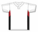 Athletic Knit (AK) BA1763A-415 Adult White/Red/Black One-Button Baseball Jersey