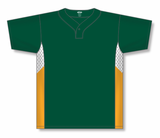 Athletic Knit (AK) BA1763A-439 Adult Dark Green/White/Gold One-Button Baseball Jersey