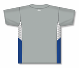 Athletic Knit (AK) BA1763-450 Grey/White/Royal Blue One-Button Baseball Jersey