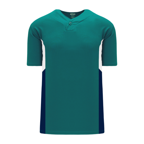 Athletic Knit (AK) BA1763-456 Pacific Teal/White/Navy One-Button Baseball Jersey