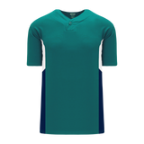 Athletic Knit (AK) BA1763A-456 Adult Pacific Teal/White/Navy One-Button Baseball Jersey