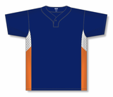 Athletic Knit (AK) BA1763-465 Navy/White/Orange One-Button Baseball Jersey