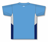 Athletic Knit (AK) BA1763 Sky Blue/White/Navy One-Button Baseball Jersey