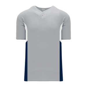 Athletic Knit (AK) BA1763A-548 Adult Grey/White/Navy One-Button Baseball Jersey