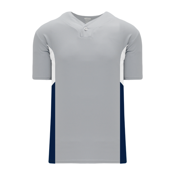 Athletic Knit (AK) BA1763 Grey/White/Navy One-Button Baseball Jersey