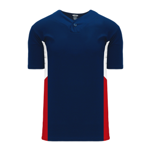 Athletic Knit (AK) BA1763 Navy/White/Red One-Button Baseball Jersey