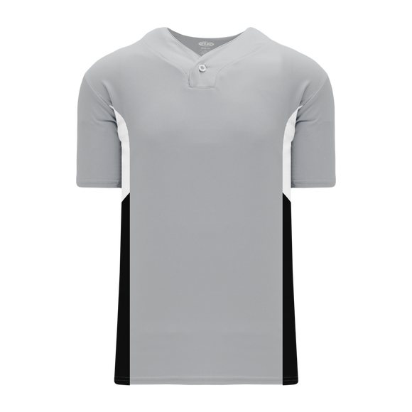 Athletic Knit (AK) BA1763-973 Grey/White/Black One-Button Baseball Jersey