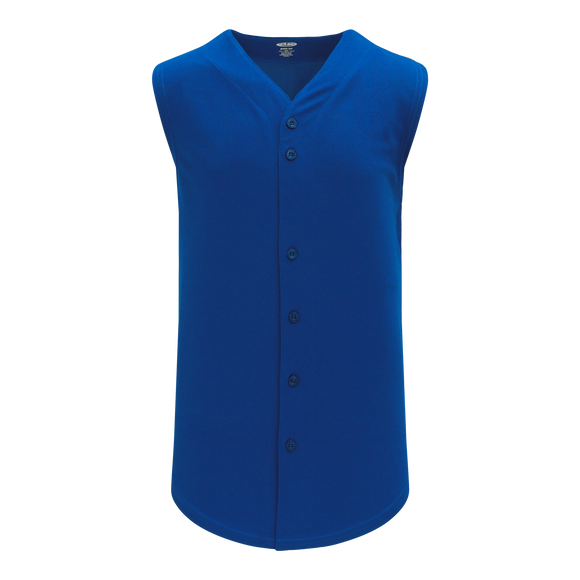 Athletic Knit (AK) BA1812 Royal Blue Sleeveless Full Button Baseball Jersey