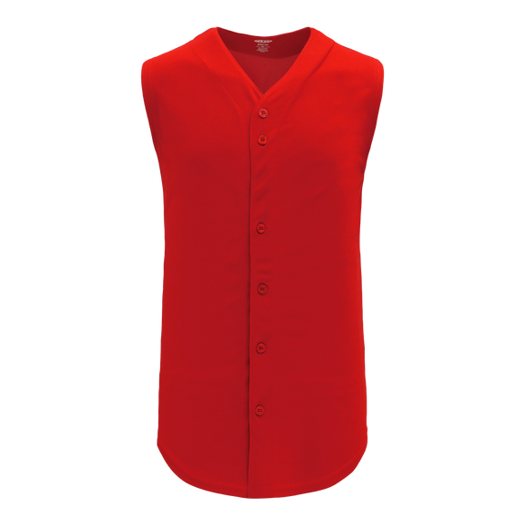 Athletic Knit (AK) BA1812-005 Red Sleeveless Full Button Baseball Jersey