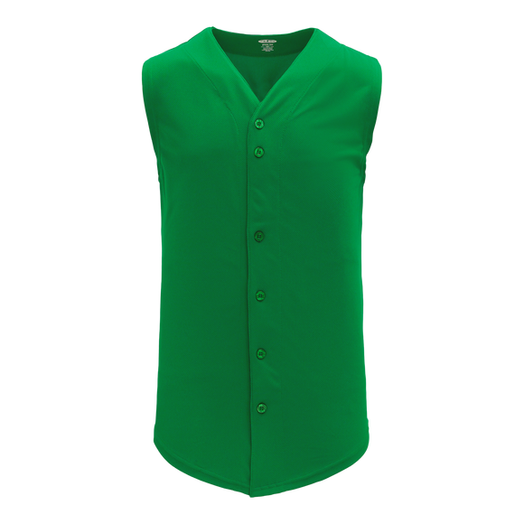 Athletic Knit (AK) BA1812A-007 Adult Kelly Green Sleeveless Full Button Baseball Jersey