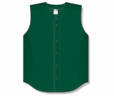 Athletic Knit (AK) BA1812 Dark Green Sleeveless Full Button Baseball Jersey