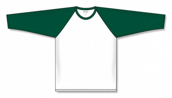 Athletic Knit (AK) BA1846 White/Dark Green Pullover Baseball Jersey
