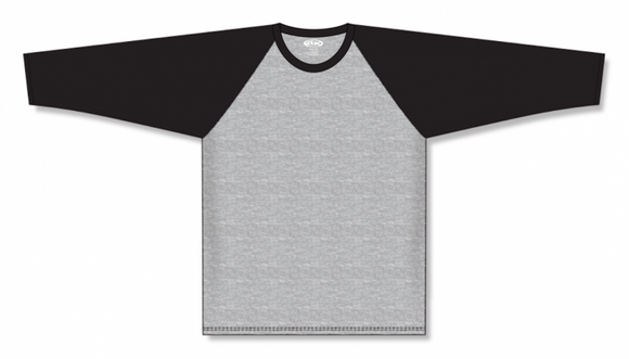 Athletic Knit (AK) BA1846 Heather Grey/Black Pullover Baseball Jersey
