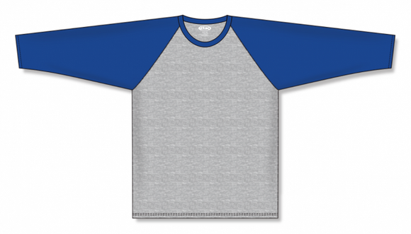 Athletic Knit (AK) BA1846 Heather Grey/Royal Blue Pullover Baseball Jersey