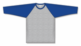 Athletic Knit (AK) BA1846A-922 Adult Heather Grey/Royal Blue Pullover Baseball Jersey