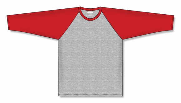 Athletic Knit (AK) BA1846 Heather Grey/Red Pullover Baseball Jersey