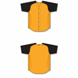 Athletic Knit (AK) BA1875A-213 Adult Gold/Black Full Button Baseball Jersey