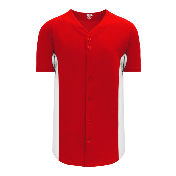 Athletic Knit (AK) BA1890 Red/White Full Button Baseball Jersey