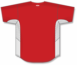 Athletic Knit (AK) BA1890-208 Red/White Full Button Baseball Jersey