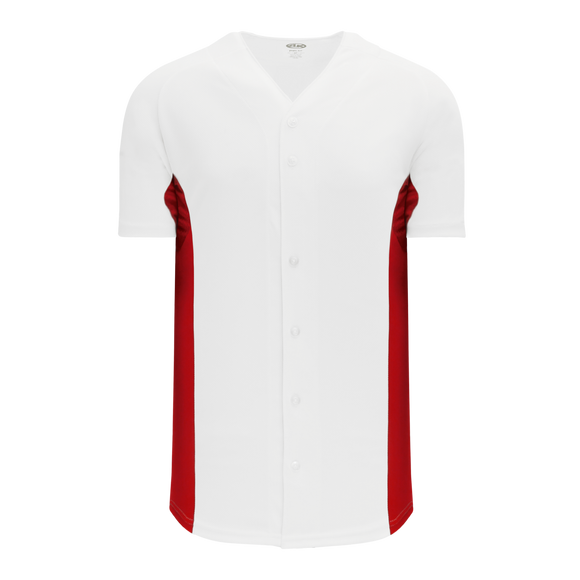 Athletic Knit (AK) BA1890-209 White/Red Full Button Baseball Jersey