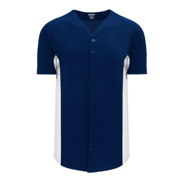 Athletic Knit (AK) BA1890-216 Navy/White Full Button Baseball Jersey