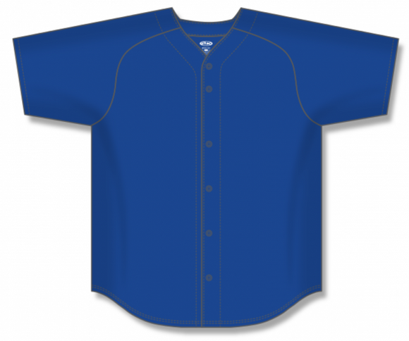 Athletic Knit (AK) BA5200 Royal Blue Full Button Baseball Jersey